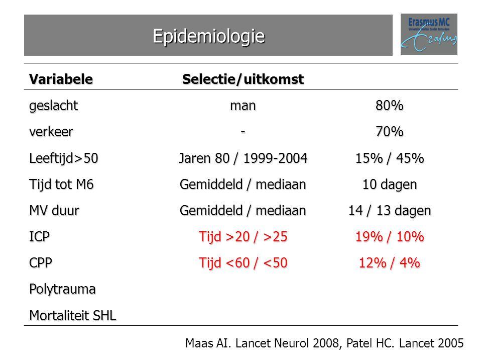 Epidemiologie Maas AI. Lancet Neurol 2008, Patel HC. Lancet 2005VariabeleSelectie/uitkomstgeslachtman80% verkeer-70% Leeftijd>50 Jaren 80 / 1999-2004