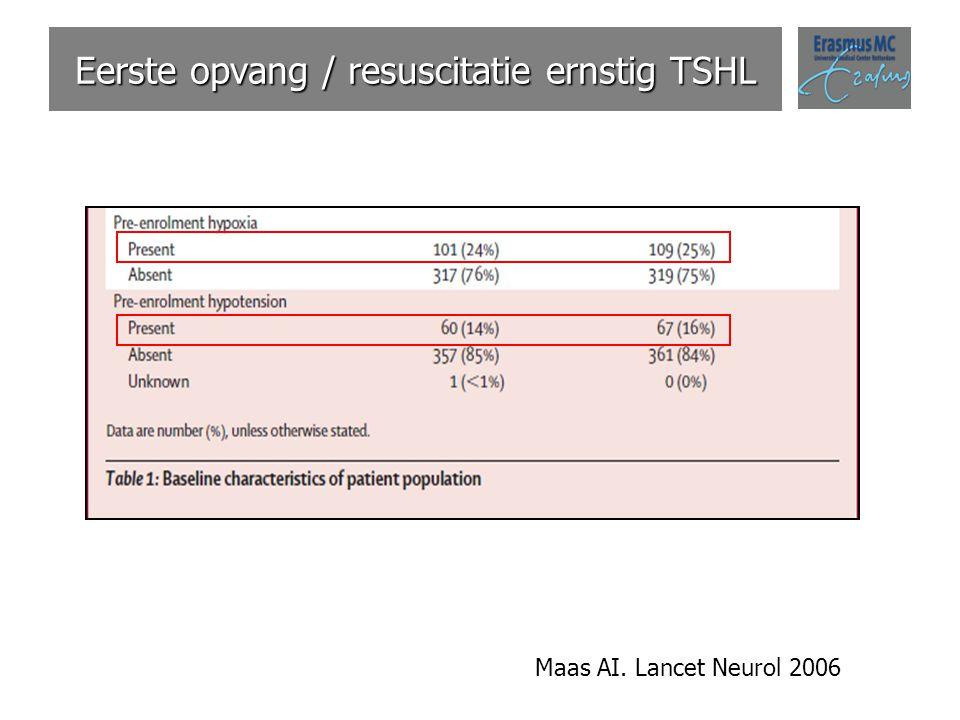 Eerste opvang / resuscitatie ernstig TSHL Maas AI. Lancet Neurol 2006