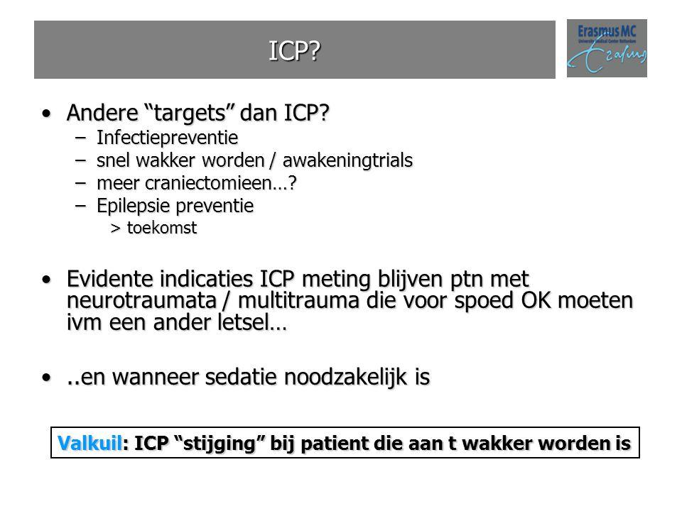 """ICP? Andere """"targets"""" dan ICP?Andere """"targets"""" dan ICP? –Infectiepreventie –snel wakker worden / awakeningtrials –meer craniectomieen…? –Epilepsie pre"""
