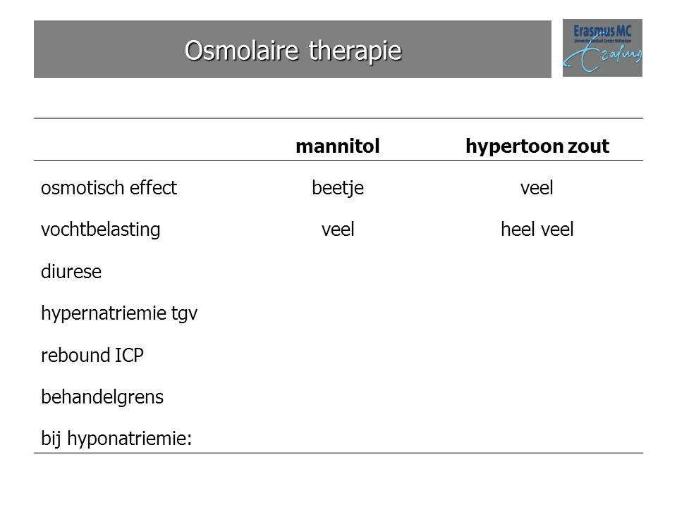 Osmolaire therapie mannitolhypertoon zout osmotisch effectbeetjeveel vochtbelastingveelheel veel diurese hypernatriemie tgv rebound ICP behandelgrens