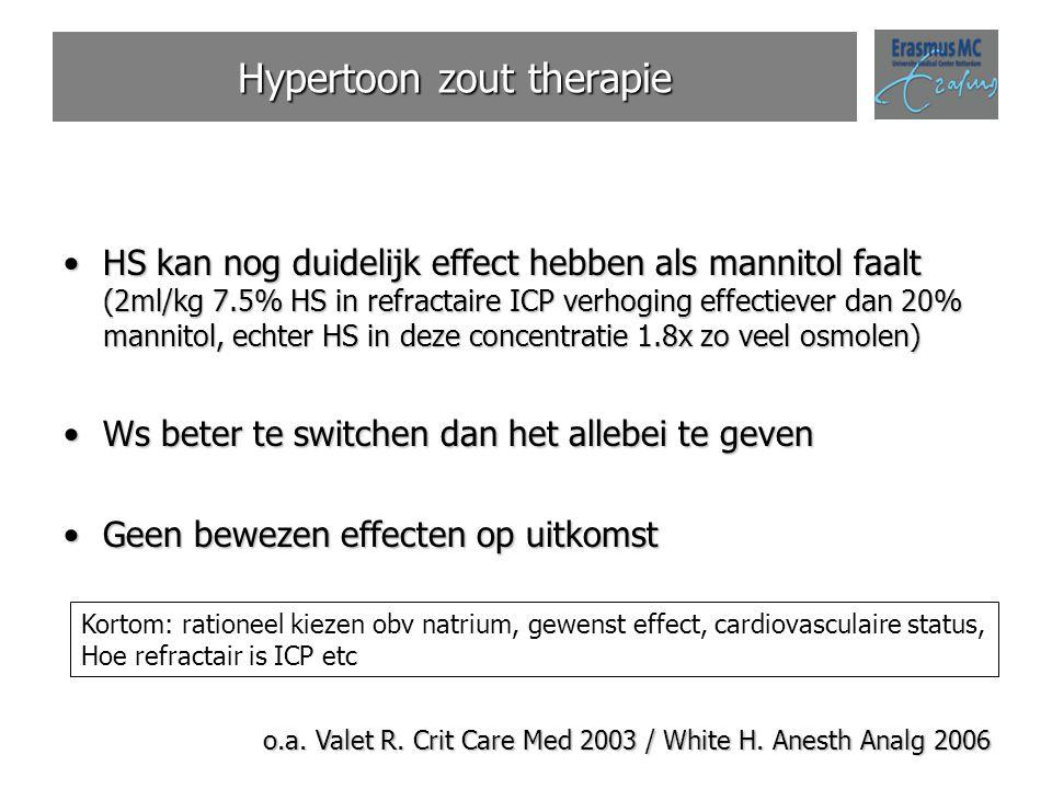 Hypertoon zout therapie HS kan nog duidelijk effect hebben als mannitol faalt (2ml/kg 7.5% HS in refractaire ICP verhoging effectiever dan 20% mannito