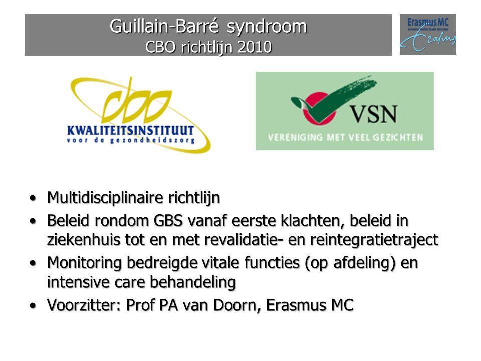 Guillain-Barré syndroom CBO richtlijn 2010 Multidisciplinaire richtlijnMultidisciplinaire richtlijn Beleid rondom GBS vanaf eerste klachten, beleid in
