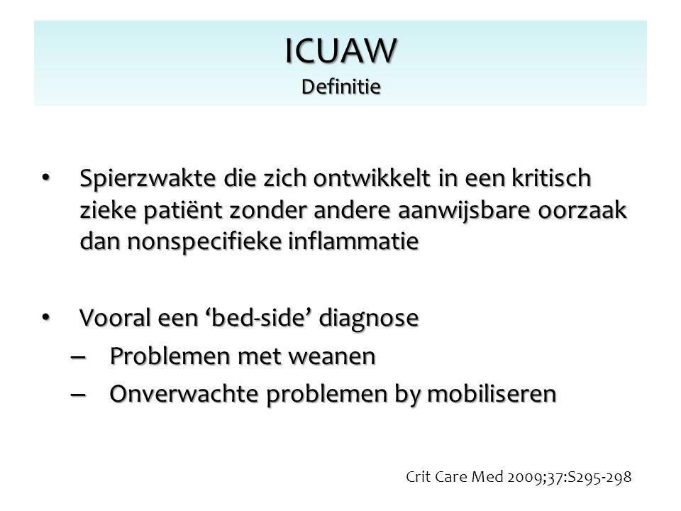 ICUAW Definitie Spierzwakte die zich ontwikkelt in een kritisch zieke patiënt zonder andere aanwijsbare oorzaak dan nonspecifieke inflammatie Spierzwa