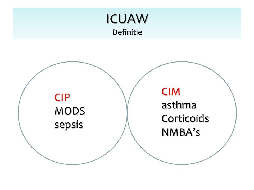 ICUAW Definitie CIPMODSsepsis CIMasthmaCorticoidsNMBA's