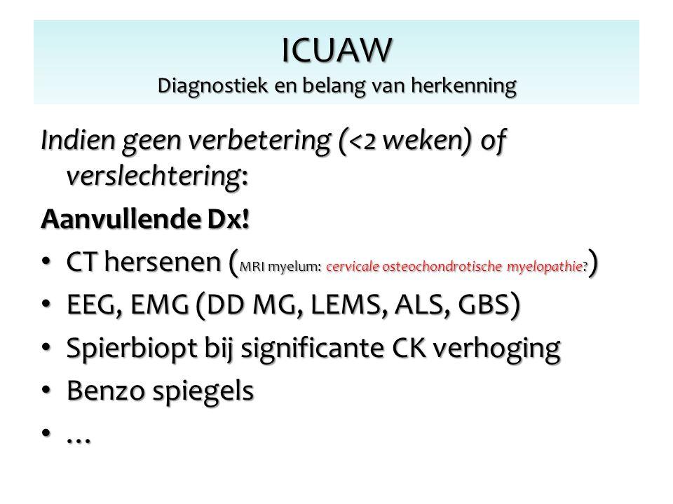 Indien geen verbetering (<2 weken) of verslechtering: Aanvullende Dx! CT hersenen ( MRI myelum: cervicale osteochondrotische myelopathie? ) CT hersene