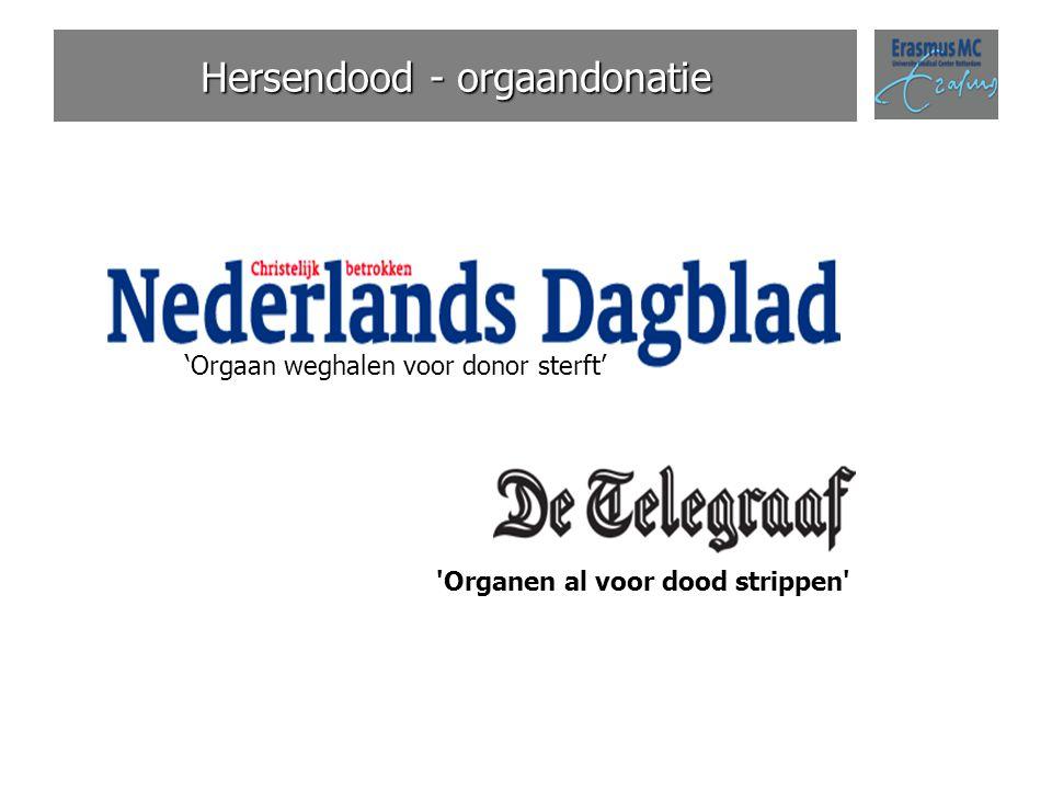 Hersendood - orgaandonatie 'Orgaan weghalen voor donor sterft' 'Organen al voor dood strippen'