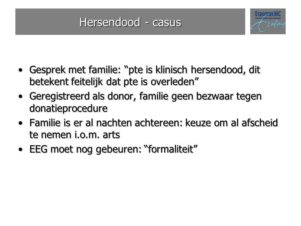 """Hersendood - casus Gesprek met familie: """"pte is klinisch hersendood, dit betekent feitelijk dat pte is overleden""""Gesprek met familie: """"pte is klinisch"""