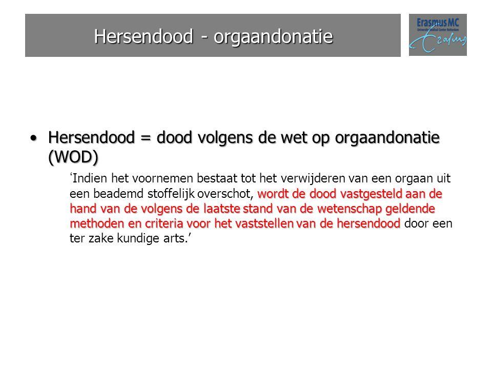 Hersendood - orgaandonatie Hersendood = dood volgens de wet op orgaandonatie (WOD)Hersendood = dood volgens de wet op orgaandonatie (WOD) wordt de doo