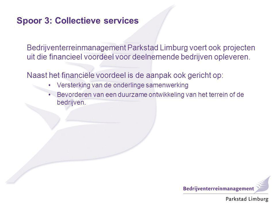 Bedrijventerreinmanagement Parkstad Limburg voert ook projecten uit die financieel voordeel voor deelnemende bedrijven opleveren. Naast het financiële