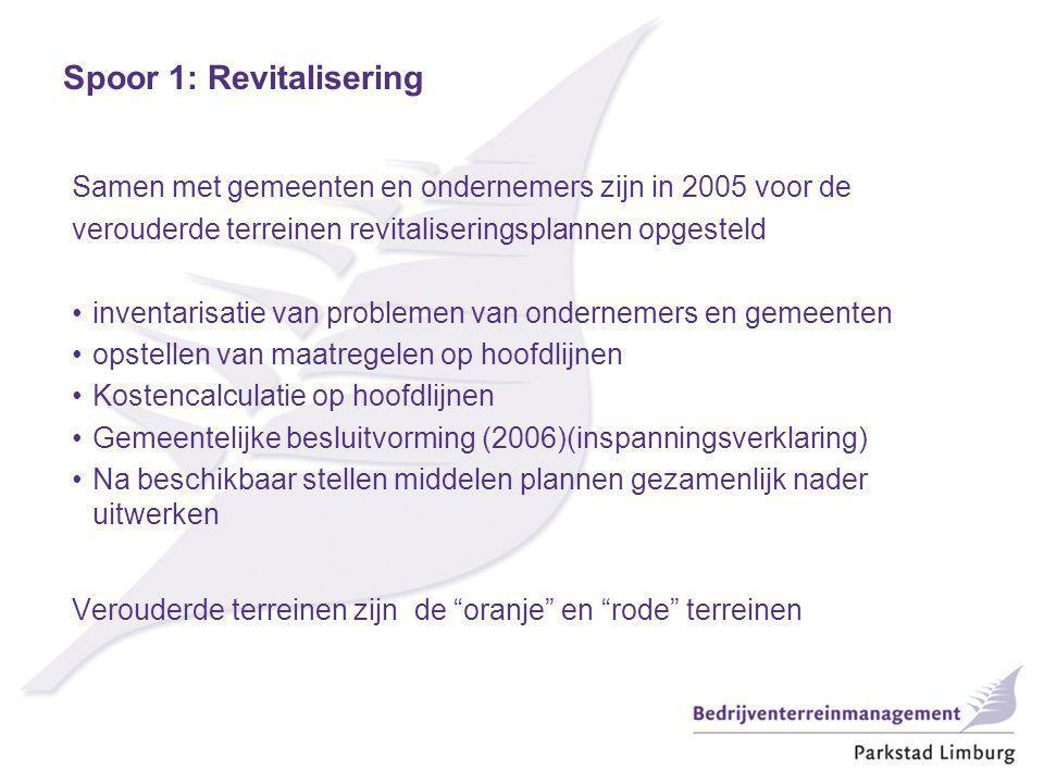 Samen met gemeenten en ondernemers zijn in 2005 voor de verouderde terreinen revitaliseringsplannen opgesteld inventarisatie van problemen van ondernemers en gemeenten opstellen van maatregelen op hoofdlijnen Kostencalculatie op hoofdlijnen Gemeentelijke besluitvorming (2006)(inspanningsverklaring) Na beschikbaar stellen middelen plannen gezamenlijk nader uitwerken Verouderde terreinen zijn de oranje en rode terreinen Spoor 1: Revitalisering