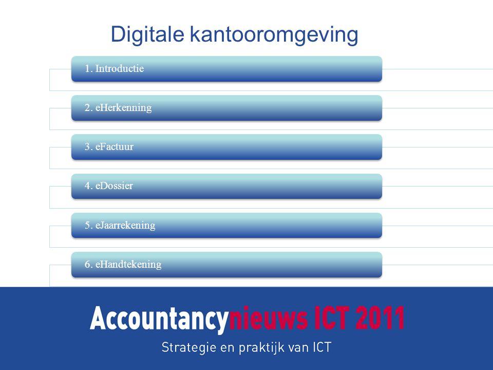 Digitale kantooromgeving 1. Introductie2. eHerkenning3. eFactuur4. eDossier5. eJaarrekening6. eHandtekening