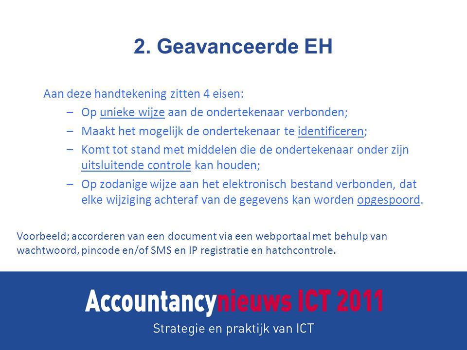2. Geavanceerde EH Aan deze handtekening zitten 4 eisen: –Op unieke wijze aan de ondertekenaar verbonden; –Maakt het mogelijk de ondertekenaar te iden