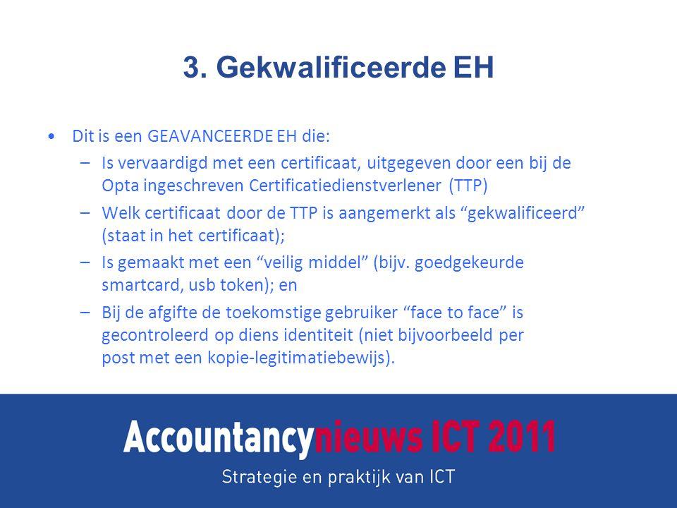 3. Gekwalificeerde EH Dit is een GEAVANCEERDE EH die: –Is vervaardigd met een certificaat, uitgegeven door een bij de Opta ingeschreven Certificatiedi