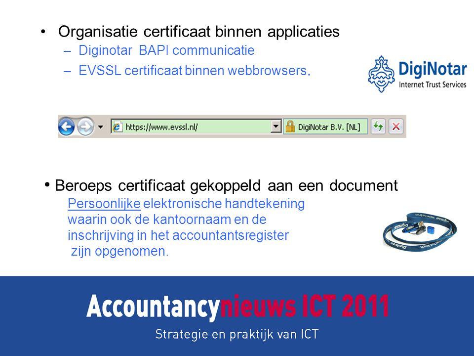 Organisatie certificaat binnen applicaties –Diginotar BAPI communicatie –EVSSL certificaat binnen webbrowsers. Beroeps certificaat gekoppeld aan een d