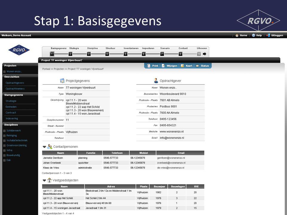 Stap 1: Basisgegevens RGVO +
