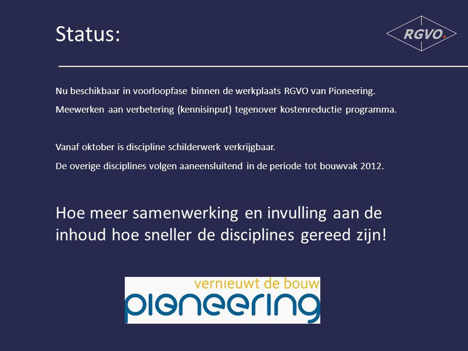 Status: Nu beschikbaar in voorloopfase binnen de werkplaats RGVO van Pioneering.