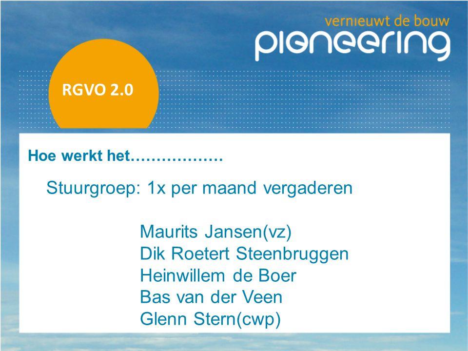 RGVO 2.0 Hoe werkt het……………… Stuurgroep: 1x per maand vergaderen Maurits Jansen(vz) Dik Roetert Steenbruggen Heinwillem de Boer Bas van der Veen Glenn Stern(cwp)