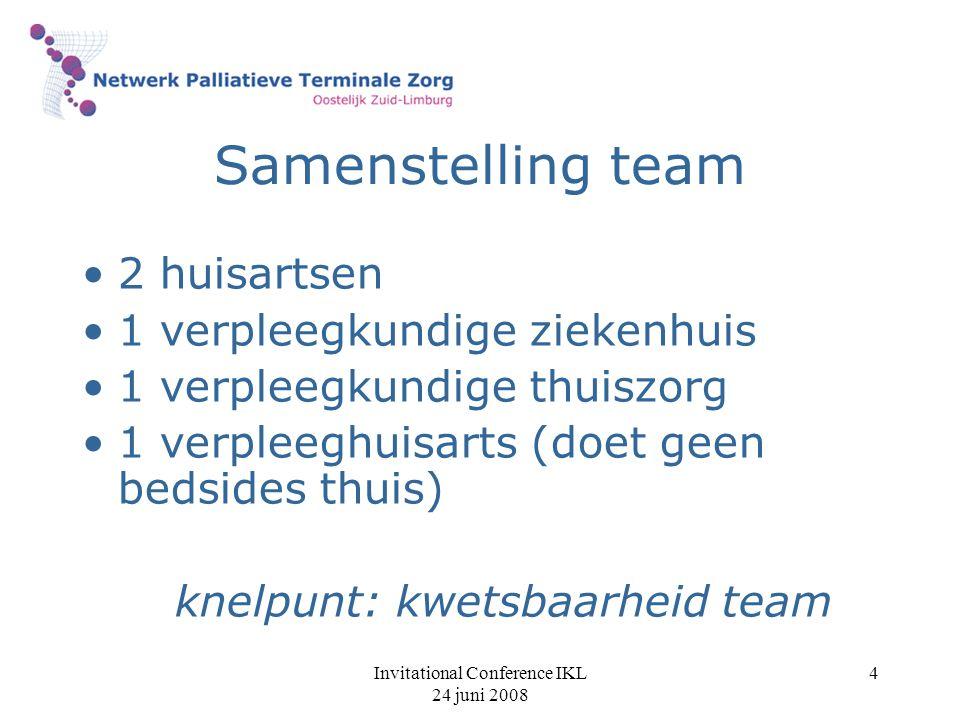 Invitational Conference IKL 24 juni 2008 5 Deskundigheid team werkzaam in de palliatieve zorg scholing achterwacht regionaal team wekelijkse afvaardiging naar overleg regionaal team (vlgs.