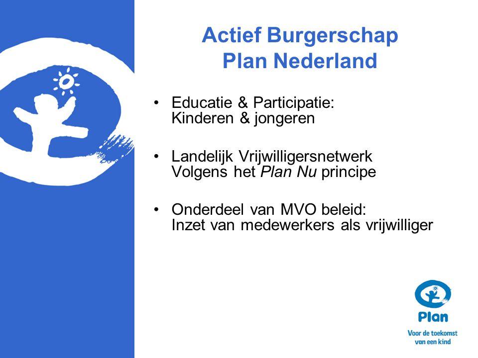 Actief Burgerschap Plan Nederland Educatie & Participatie: Kinderen & jongeren Landelijk Vrijwilligersnetwerk Volgens het Plan Nu principe Onderdeel v