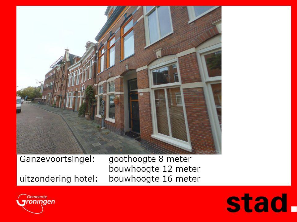 Ganzevoortsingel: goothoogte 8 meter bouwhoogte 12 meter uitzondering hotel:bouwhoogte 16 meter