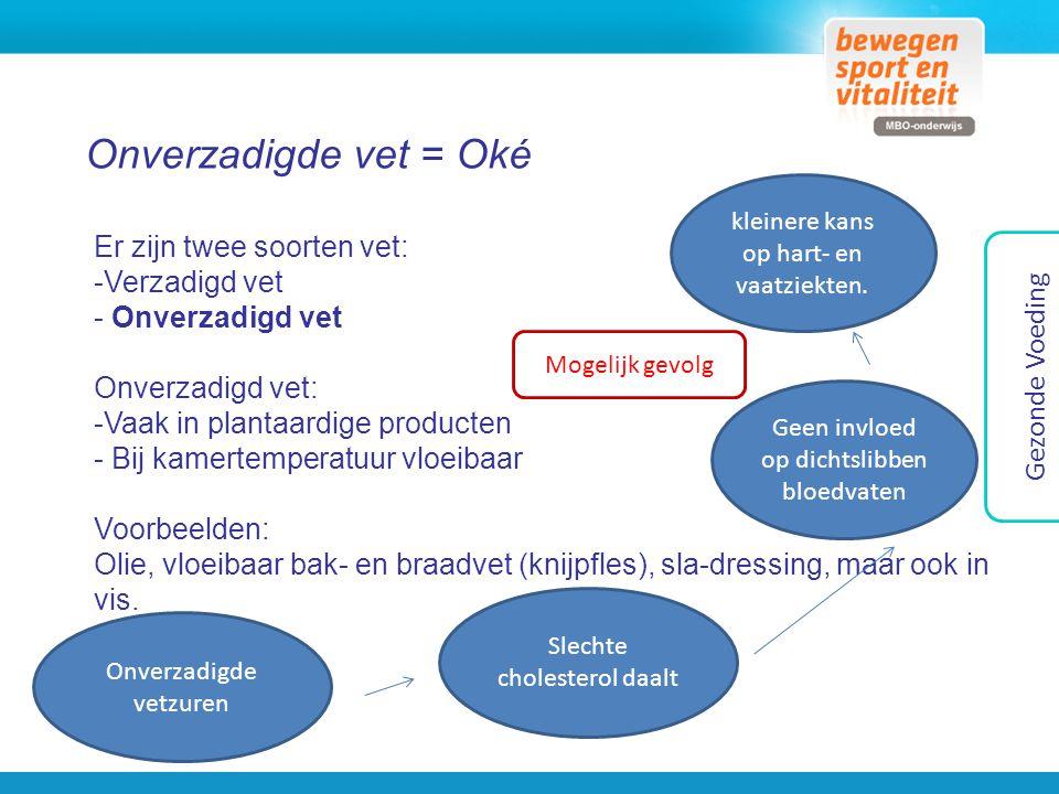 Onverzadigde vet = Oké Gezonde Voeding Er zijn twee soorten vet: -Verzadigd vet - Onverzadigd vet Onverzadigd vet: -Vaak in plantaardige producten - B