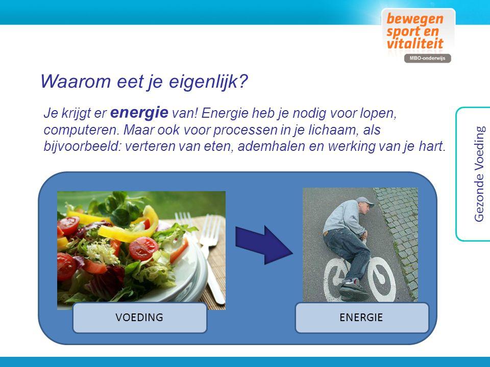 Waarom eet je eigenlijk? Je krijgt er energie van! Energie heb je nodig voor lopen, computeren. Maar ook voor processen in je lichaam, als bijvoorbeel