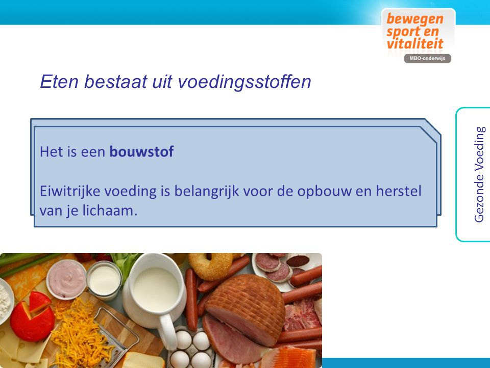 Eten bestaat uit voedingsstoffen Bouw- of brandstof.