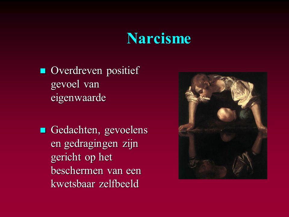 Narcisme Overdreven positief gevoel van eigenwaarde Overdreven positief gevoel van eigenwaarde Gedachten, gevoelens en gedragingen zijn gericht op het