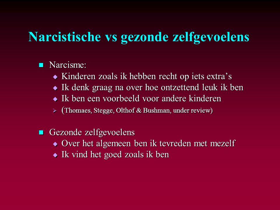 Narcistische vs gezonde zelfgevoelens Narcisme: Narcisme:  Kinderen zoals ik hebben recht op iets extra's  Ik denk graag na over hoe ontzettend leuk