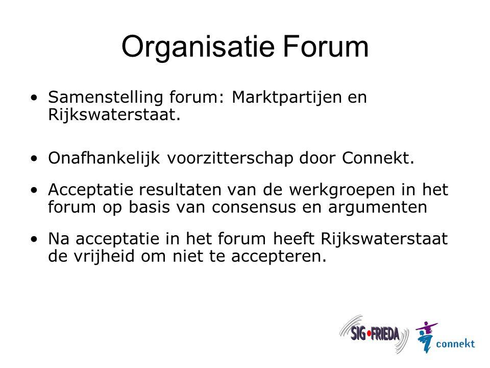 Organisatie Forum Samenstelling forum: Marktpartijen en Rijkswaterstaat. Onafhankelijk voorzitterschap door Connekt. Acceptatie resultaten van de werk