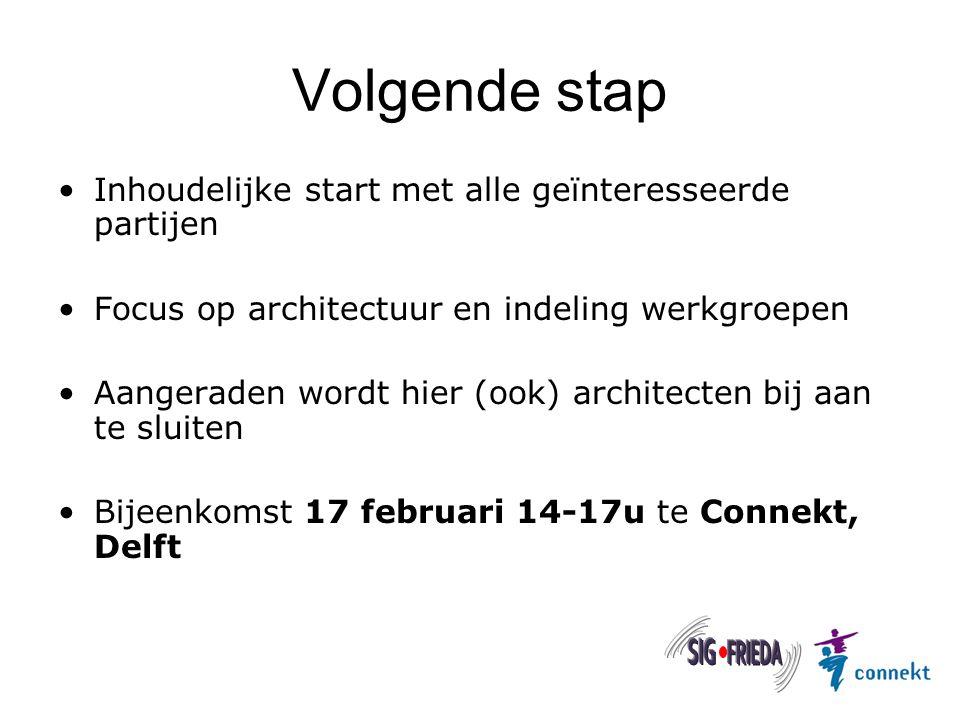 Volgende stap Inhoudelijke start met alle geïnteresseerde partijen Focus op architectuur en indeling werkgroepen Aangeraden wordt hier (ook) architect