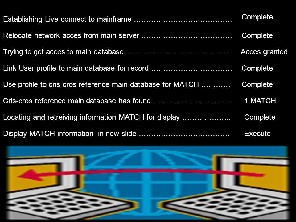 Er wordt nu getracht een profiel aan te maken en deze te koppelen aan onze database om een passende MATCH te kunnen vinden.