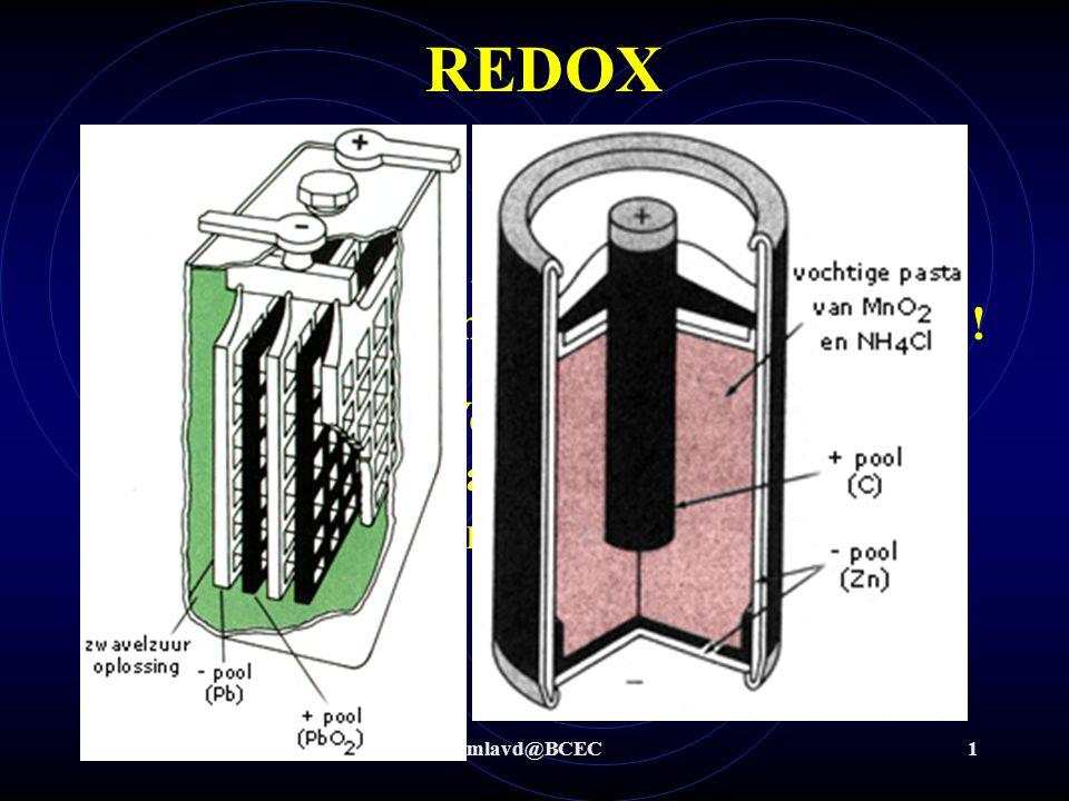 mlavd@BCEC1 REDOX Wat is redox ? Redox-chemie zijn processen waarbij overdracht van elektronen plaats vindt ! Voorbeelden: Accu's, batterijen, brandst