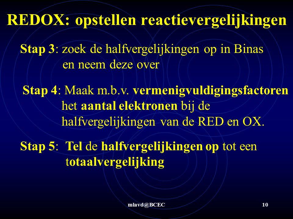 mlavd@BCEC10 Stap 3: zoek de halfvergelijkingen op in Binas en neem deze over Stap 4: Maak m.b.v. vermenigvuldigingsfactoren het aantal elektronen bij