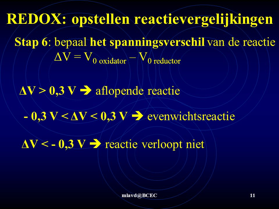 mlavd@BCEC11 Stap 6: bepaal het spanningsverschil van de reactie ΔV = V 0 oxidator – V 0 reductor ΔV > 0,3 V  aflopende reactie ΔV < - 0,3 V  reactie verloopt niet - 0,3 V < ΔV < 0,3 V  evenwichtsreactie REDOX: opstellen reactievergelijkingen