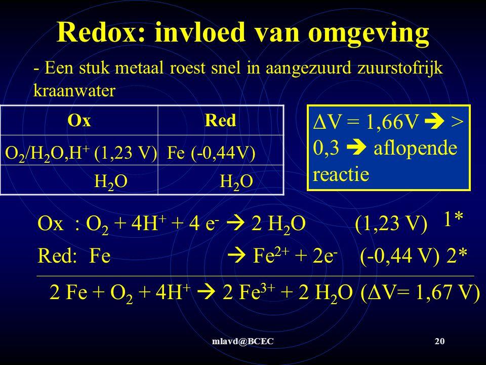 mlavd@BCEC20 Redox: invloed van omgeving - Een stuk metaal roest snel in aangezuurd zuurstofrijk kraanwater OxRed O 2 /H 2 O,H + (1,23 V)Fe (-0,44V) H
