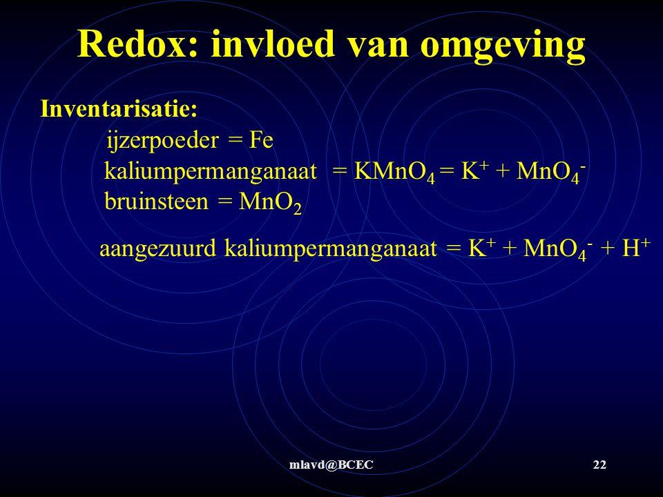 mlavd@BCEC22 Redox: invloed van omgeving Inventarisatie: ijzerpoeder = Fe kaliumpermanganaat = KMnO 4 = K + + MnO 4 - bruinsteen = MnO 2 aangezuurd kaliumpermanganaat = K + + MnO 4 - + H +