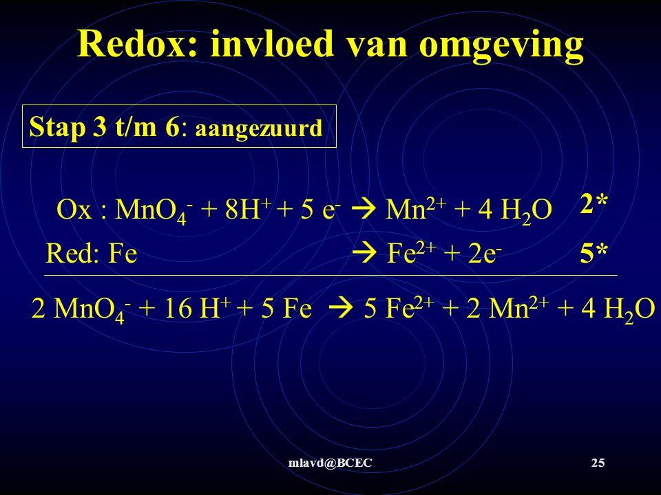 mlavd@BCEC25 Redox: invloed van omgeving Stap 3 t/m 6: aangezuurd Ox : MnO 4 - + 8H + + 5 e -  Mn 2+ + 4 H 2 O 2* 5* Red: Fe  Fe 2+ + 2e - 2 MnO 4 -