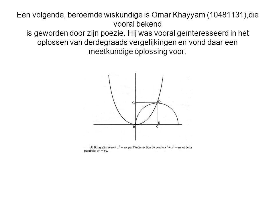 Een volgende, beroemde wiskundige is Omar Khayyam (10481131),die vooral bekend is geworden door zijn poëzie. Hij was vooral geïnteresseerd in het oplo