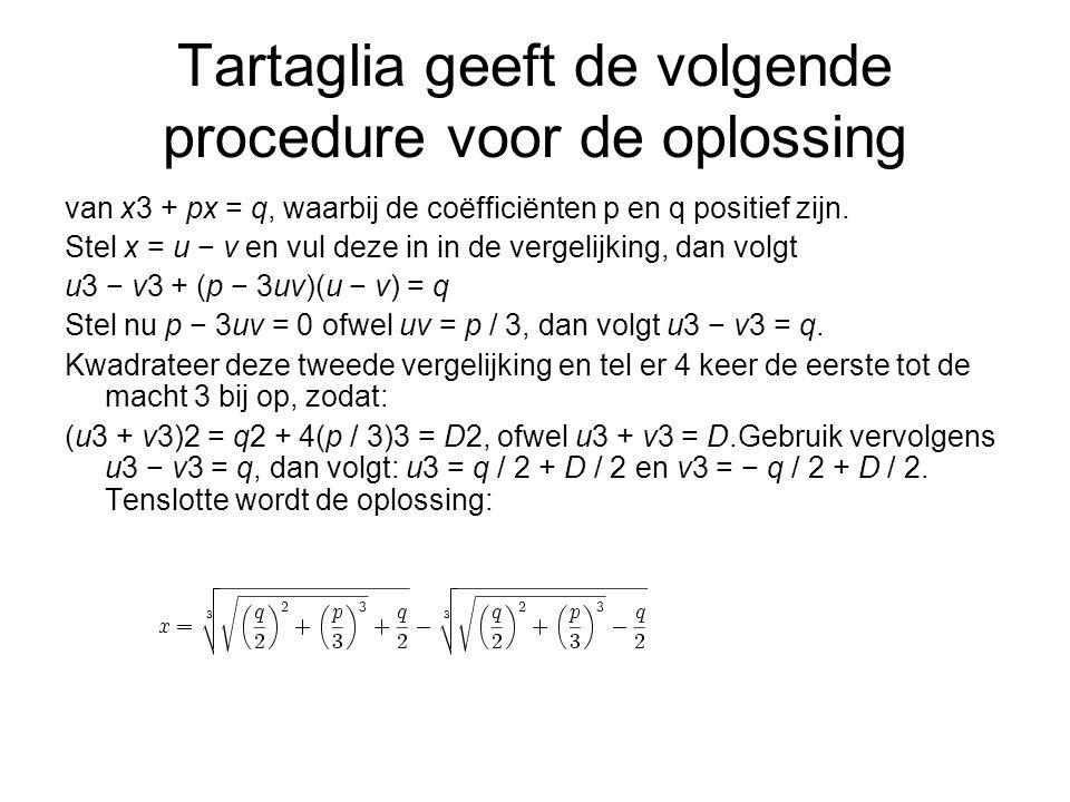 Tartaglia geeft de volgende procedure voor de oplossing van x3 + px = q, waarbij de coëfficiënten p en q positief zijn. Stel x = u − v en vul deze in