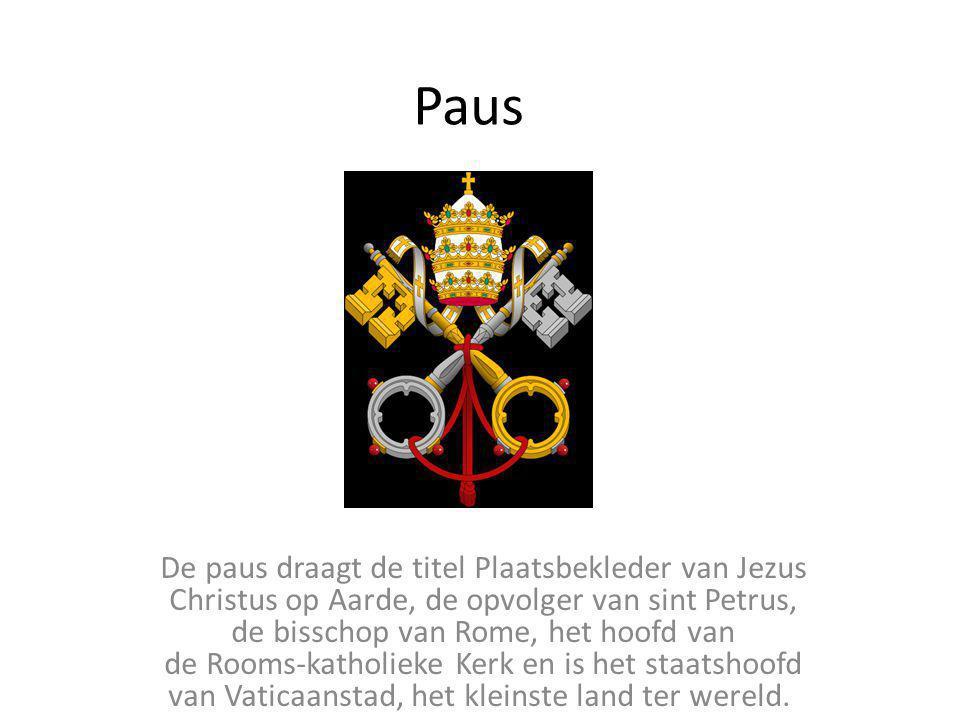 Paus De paus draagt de titel Plaatsbekleder van Jezus Christus op Aarde, de opvolger van sint Petrus, de bisschop van Rome, het hoofd van de Rooms-kat