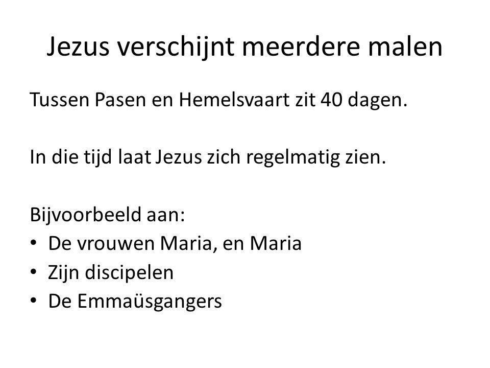 Jezus verschijnt meerdere malen Tussen Pasen en Hemelsvaart zit 40 dagen. In die tijd laat Jezus zich regelmatig zien. Bijvoorbeeld aan: De vrouwen Ma
