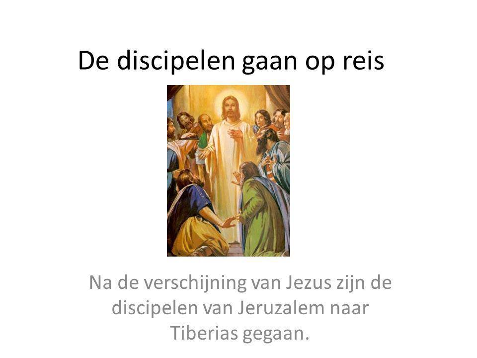 De discipelen gaan op reis Na de verschijning van Jezus zijn de discipelen van Jeruzalem naar Tiberias gegaan.