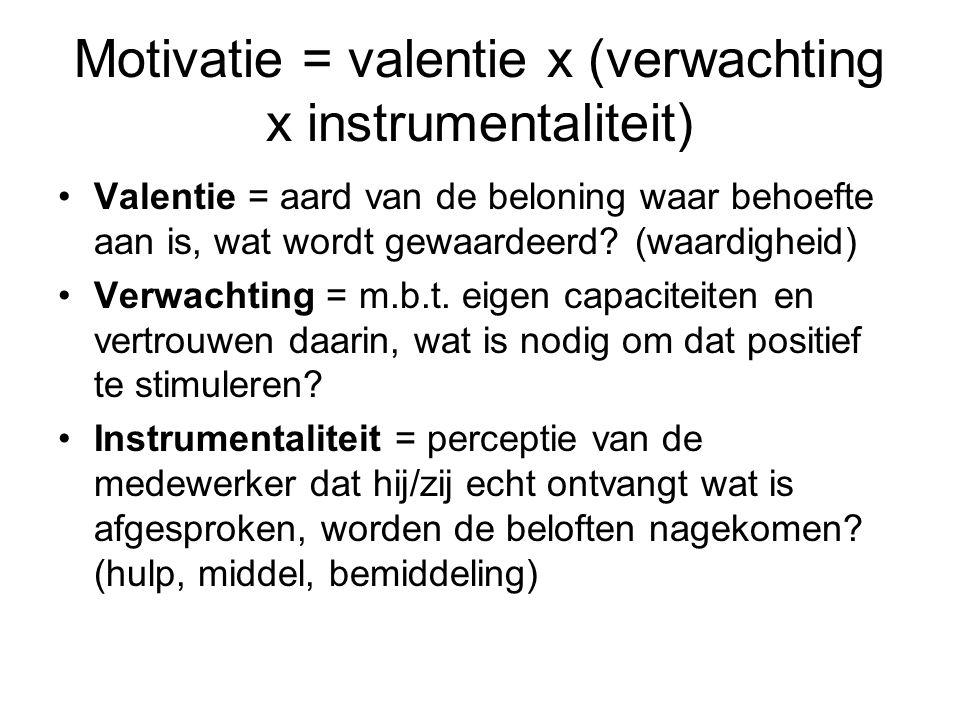 Motivatie = valentie x (verwachting x instrumentaliteit) Valentie = aard van de beloning waar behoefte aan is, wat wordt gewaardeerd? (waardigheid) Ve