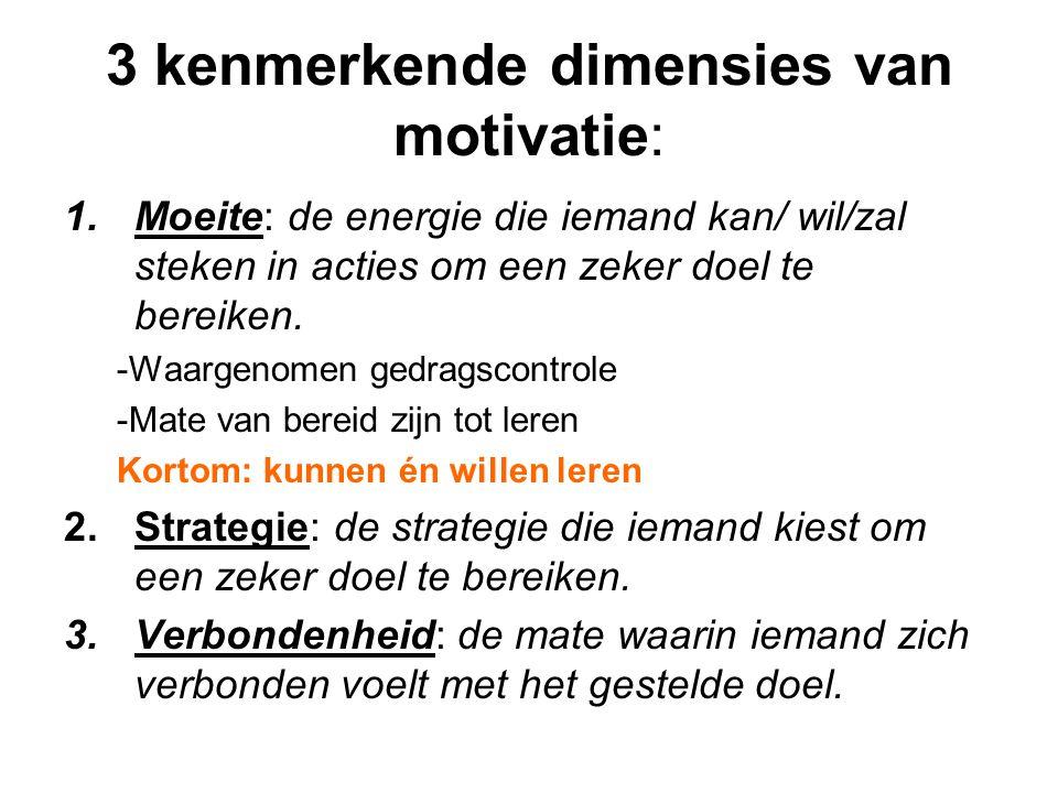3 kenmerkende dimensies van motivatie: 1.Moeite: de energie die iemand kan/ wil/zal steken in acties om een zeker doel te bereiken. -Waargenomen gedra