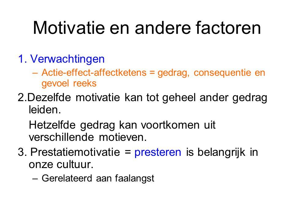 Motivatie en andere factoren 1. Verwachtingen –Actie-effect-affectketens = gedrag, consequentie en gevoel reeks 2.Dezelfde motivatie kan tot geheel an