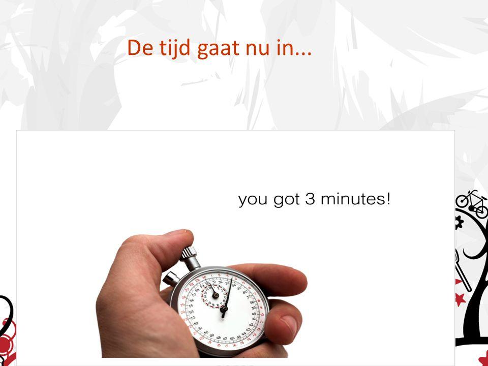 De tijd gaat nu in...
