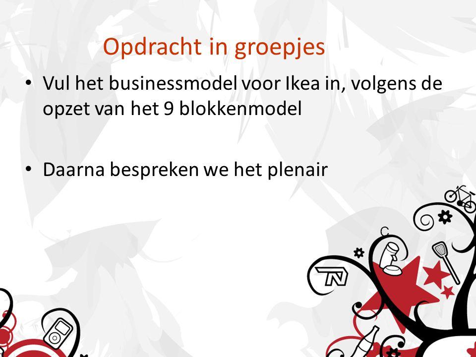 Opdracht in groepjes Vul het businessmodel voor Ikea in, volgens de opzet van het 9 blokkenmodel Daarna bespreken we het plenair C