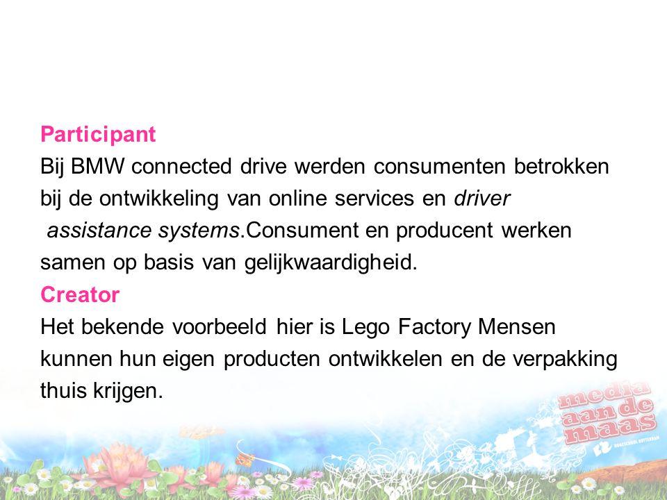 Participant Bij BMW connected drive werden consumenten betrokken bij de ontwikkeling van online services en driver assistance systems.Consument en producent werken samen op basis van gelijkwaardigheid.