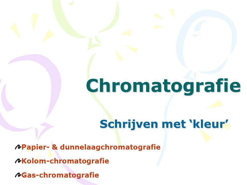 ChromatografieSchrijven met 'kleur' Papier- & dunnelaagchromatografie Kolom-chromatografie Gas-chromatografie